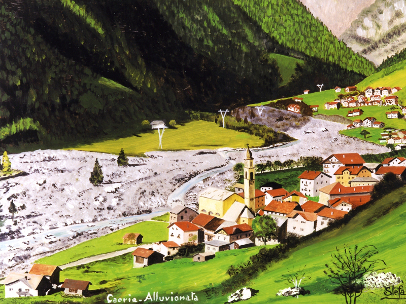 Alluvione 66 - Caoria su foto dipinta