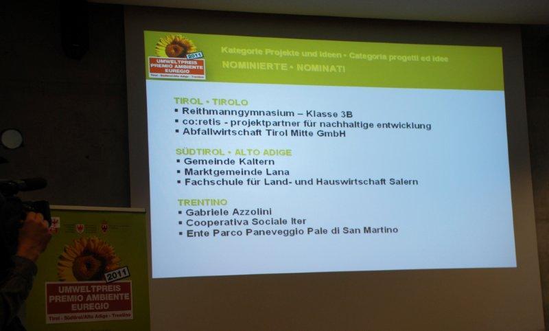 La slide con indicati i vincitori