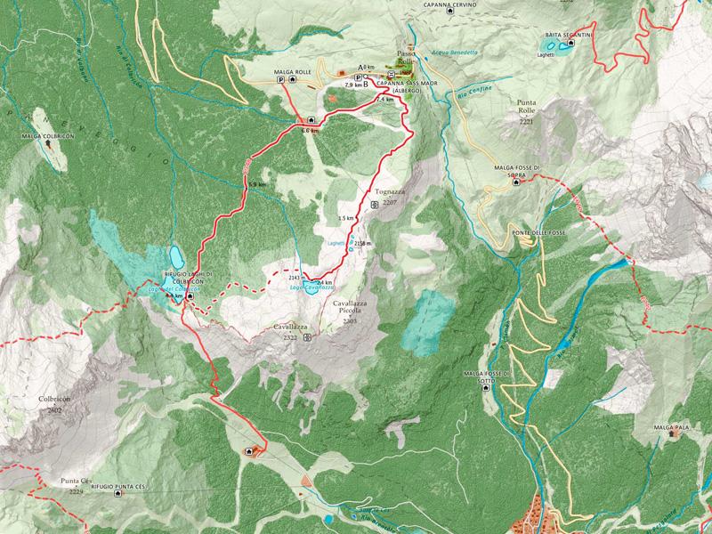 Laghi di Colbricon e Cavallazza mappa