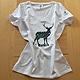 Maglietta cervo bianca donna