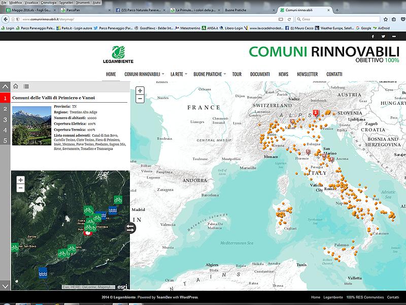 """Mappa dei """"Comuni rinnovabili"""""""