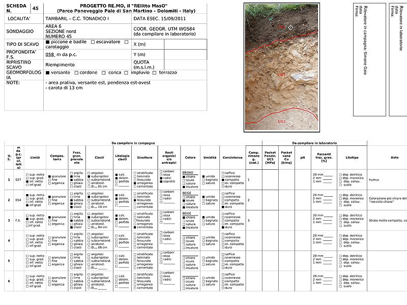 Progetto REMO scheda sondaggio geoarcheologico