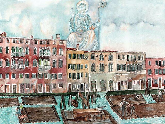 Zattere su Canal Grande in un acquerello di Roswitha Asche